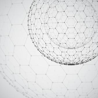 3d-object uit een zeshoekig raster met stippen. stijlvol ontwerp