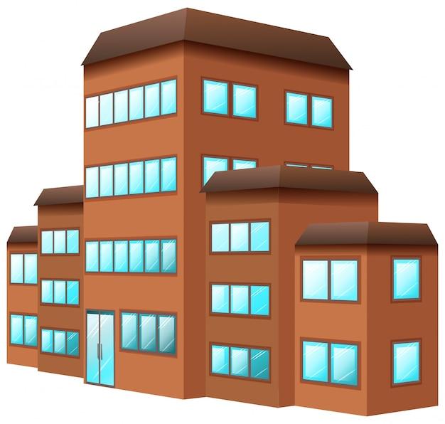 3d-ontwerp voor het bouwen in bruine kleur