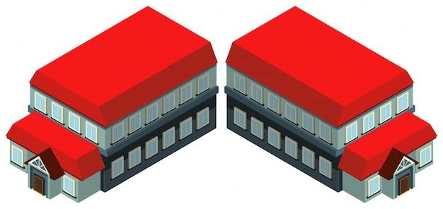 3d-ontwerp voor het bouwen met rood dak