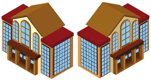 3d-ontwerp voor het bouwen met veel ramen