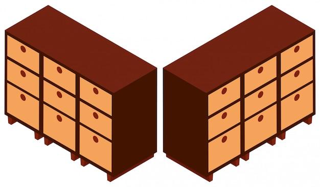 3d-ontwerp voor houten kasten