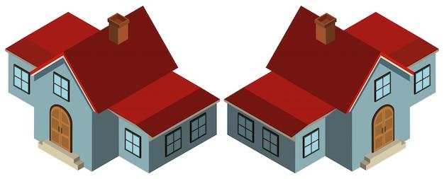 3d-ontwerp voor huis in blauw