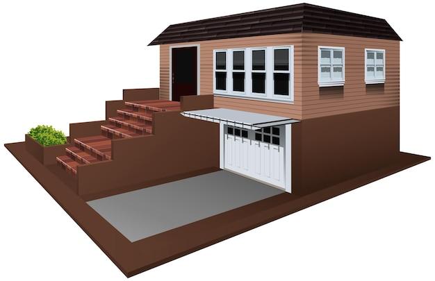 3d-ontwerp voor huis met garage