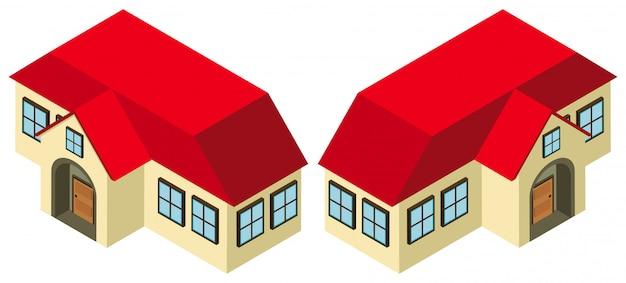 3d-ontwerp voor huis met rood dak