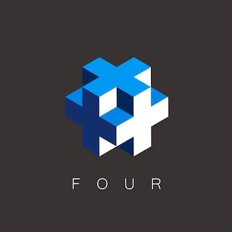 3d-ontwerpkruis met vierkant