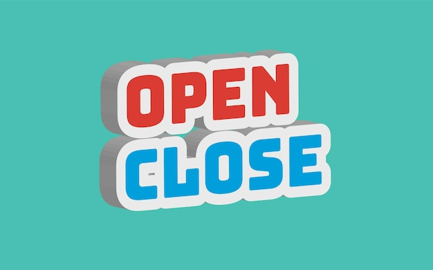 3d open sluiten teksteffect bewerkbaar