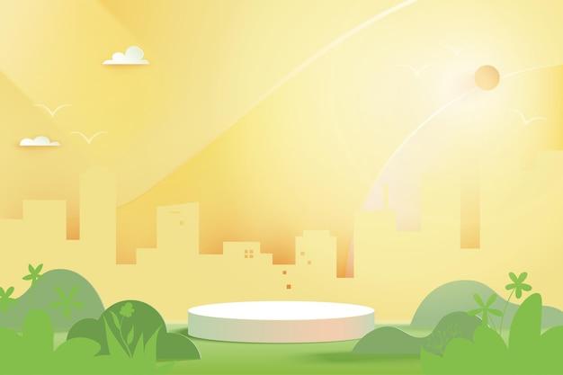 3d papier gesneden abstract cilinderpodium op groen natuurlandschap met stadsgezicht