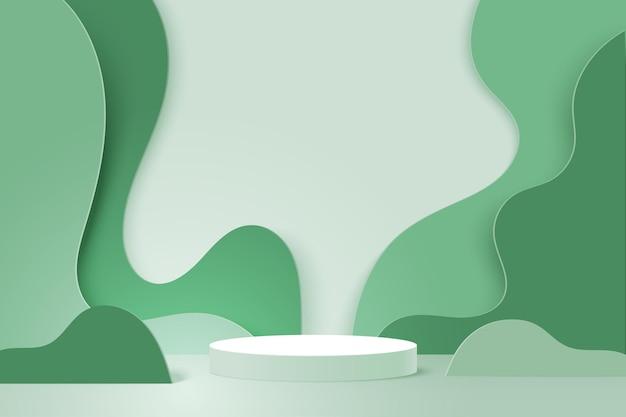 3d-papier gesneden abstracte minimale geometrische vorm sjabloon achtergrond. wit cilinder podium op groene natuur golvende lagen