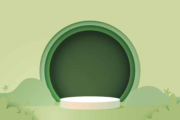 3d-papier gesneden abstracte minimale geometrische vorm sjabloon achtergrond. wit cilinder podium op groene natuur