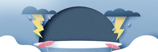 3d-papier gesneden abstracte regenseizoen concept achtergrond. cilinder podium van regenachtige dag, bewolkte hemel, donder en bliksem. vectorillustratie.
