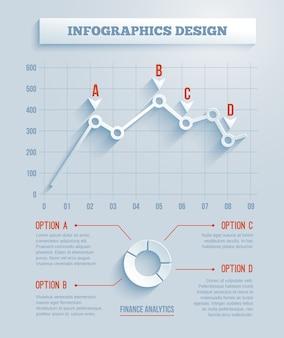 3d-papier infographics, grafiek met lange schaduwen. vector illustratie