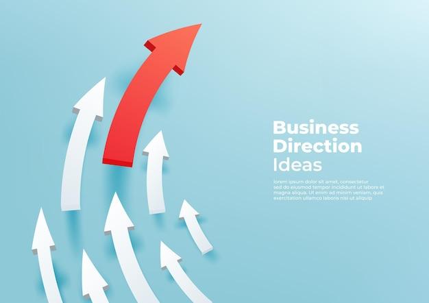 3d-pijlen naar boven gericht op de banner van het groeisucces.