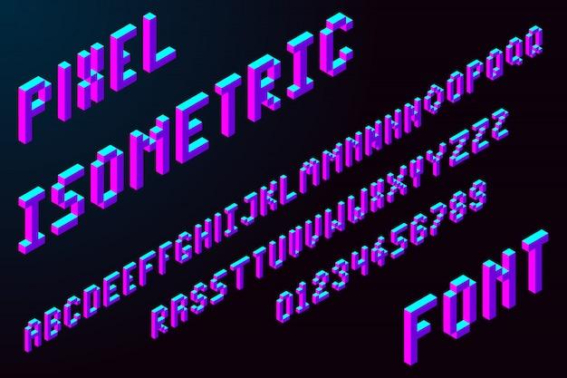 3d pixel isometrische lettertype