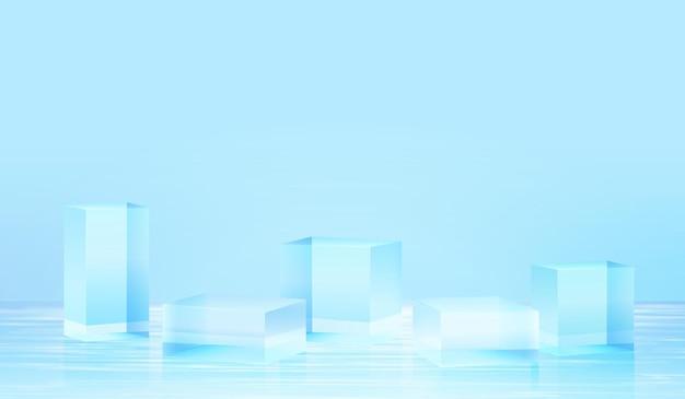3d platform als achtergrond met blauw glas in water. achtergrond vector 3d-rendering kristal podium platform. stand show cosmetisch product. toneelvitrine op voetstuk moderne glasstudio in waterplatform