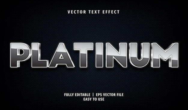 3d platina-teksteffect, bewerkbare tekststijl