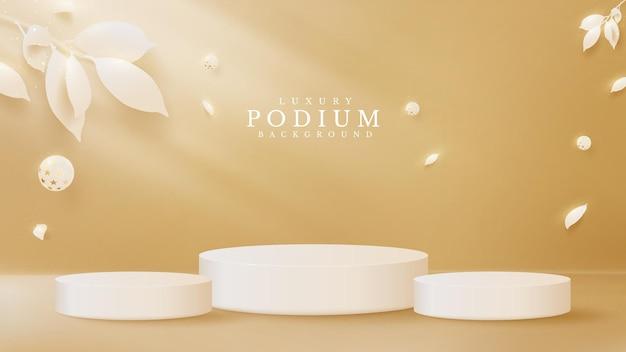 3d-podium en gouden balelement elegant samen met bladeren in papierstijl. luxe achtergrond concept. sjablonen voor productplaatsing voor promotionele en marketingdoeleinden. vector illustratie.