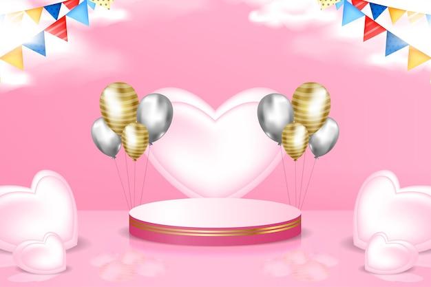 3d podium podium promotie achtergrond met realistische haard en ballon