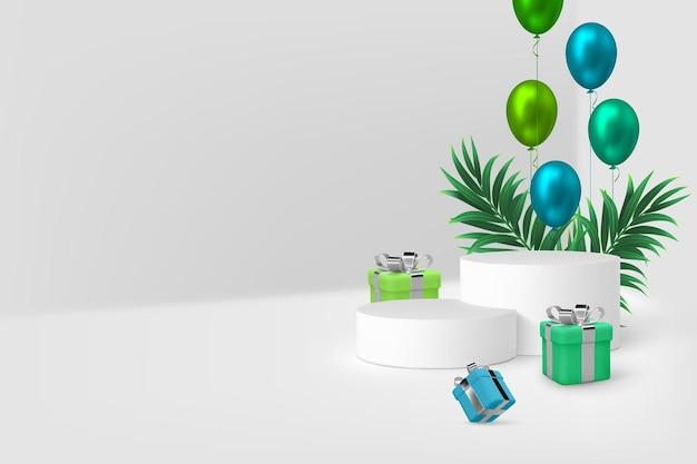 3d-podiumscène met geschenkdozen, ballonnen en tropische bladeren.