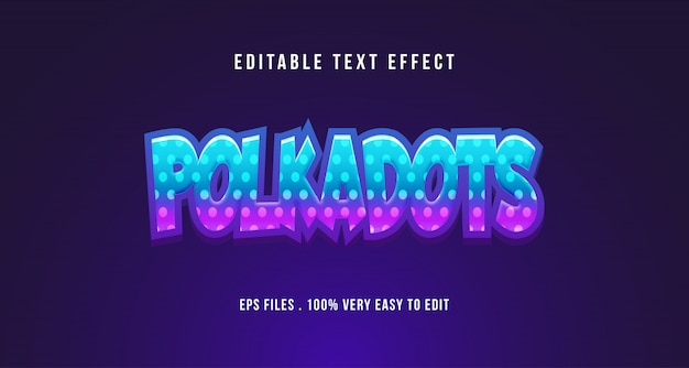3d polkadots teksteffect, bewerkbare tekst