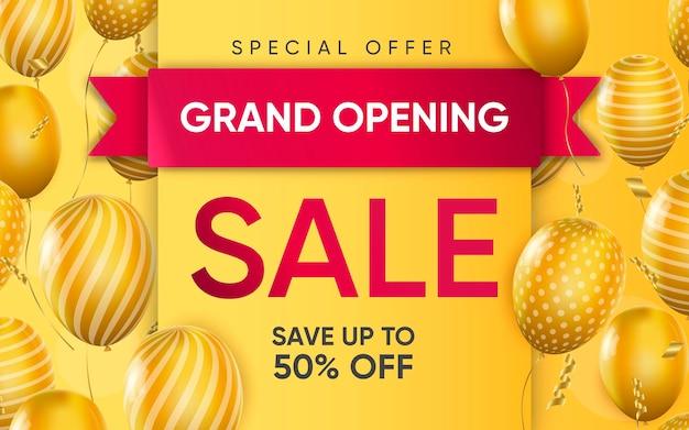 3d-poster van het realistische ontwerp van de grand opening sale