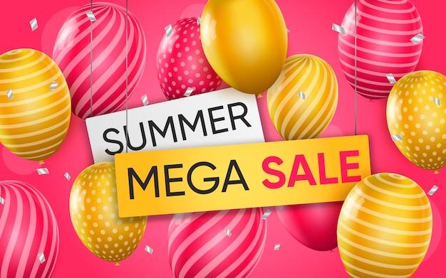 3d-poster van summer mega sale realistische ontwerp illustratie van reclame