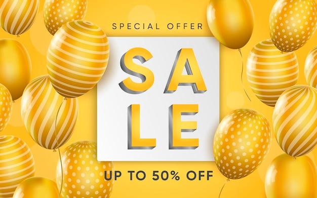 3d-poster van verkoop met gele ballonnen illustratie van reclame