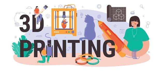 3d printen typografische header. digitale ontwerper tekenen met elektronische