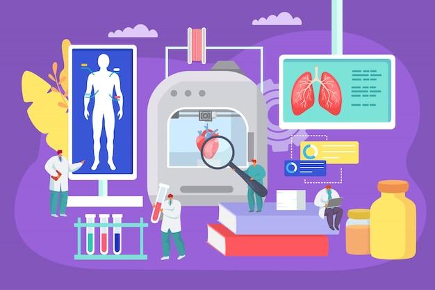 3d-printen van menselijke organen op medisch laboratorium illustratie. bioprinter moderne technologie, artsen gebruiken innovatieapparatuur