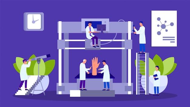 3d-printer en mensen wetenschappers groeperen laboratorium teamwerk illustratie hand getekend.