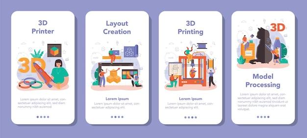3d-printer mobiele applicatie banner set. digitale ontwerper tekenen