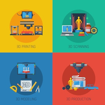 3d printing flat icons square samenstelling