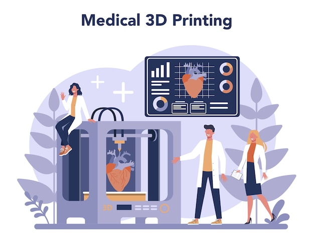3d printing technologie concept. 3d-printerapparatuur en ingenieur. moderne prototyping en constructie.