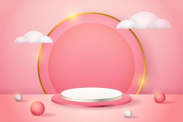 3d-product weergeven roze podium