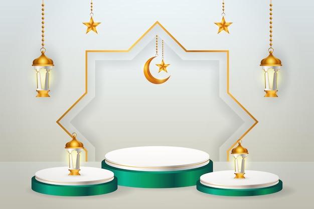 3d-productvertoning, groen en wit islamitisch podiumthema met halve maan, lantaarn en ster voor ramadan