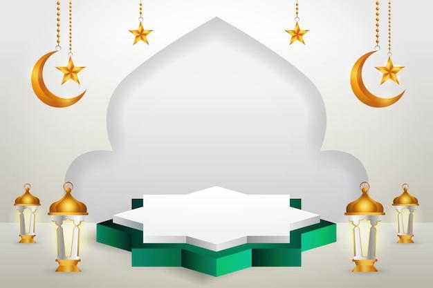 3d-productvertoning groen en wit islamitisch podiumthema met wassende maan, lantaarn en ster voor ramadan