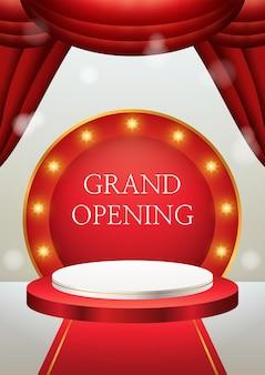 3d-productvertoning rood en wit podium grootse opening met gordijnen