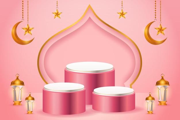 3d-productvertoning, roze en wit islamitisch podiumthema met halve maan, lantaarn en ster voor ramadan Premium Vector