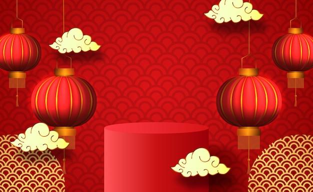 3d productvertoning van het cilinderpodium voor chinees nieuwjaar met hangende lantaarn in rode kleur