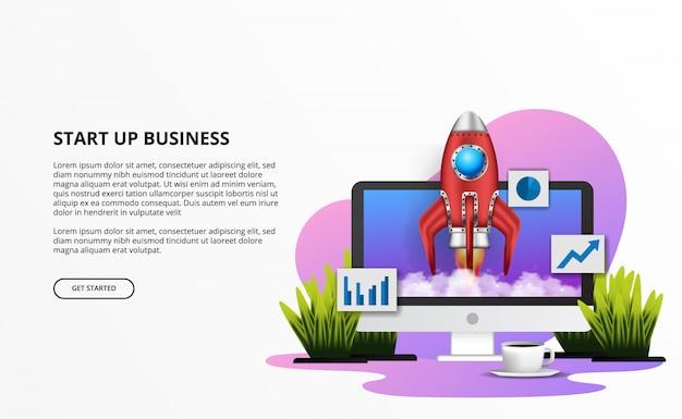 3d raketlancering voor opstarten van bedrijven met de illustratie van het bureaubureau