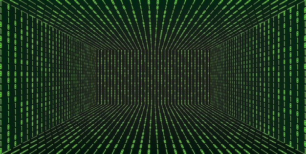 3d-rasterperspectiefruimte in matrixtechnologiestijl. virtual reality-tunnel of wormgat. abstracte binaire computercode achtergrond