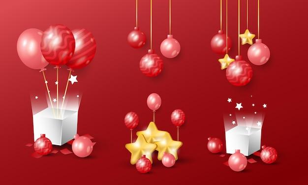 3d-realistisch goudrood kerst- en nieuwjaarsdecoratieobject