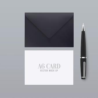 3d-realistische a6 envelop wenskaart met pen.