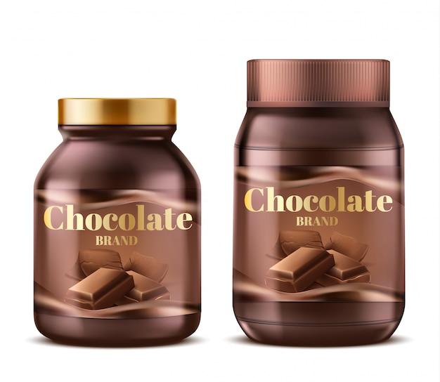 3d realistische chocoladedeeg in plastic kruiken met schaduwen. natuurlijke dessertboter