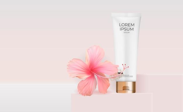 3d realistische cream tube met hibiscusbloem