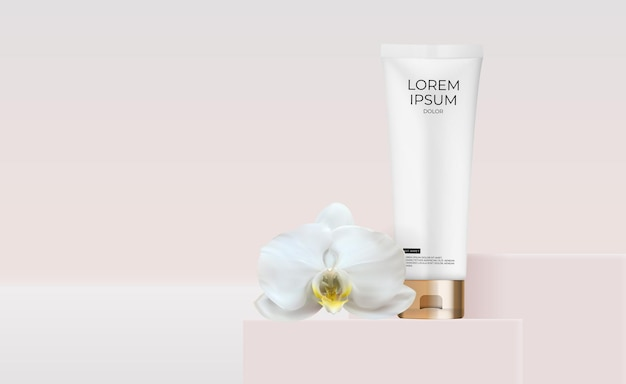 3d realistische cream tube met orchideebloem
