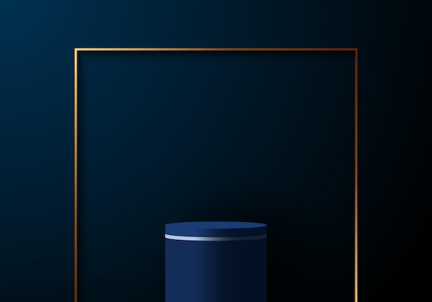 3d-realistische elegante blauwe cilinder met gouden vierkante frame op donkerblauwe achtergrond. u kunt gebruiken voor productvertoningsvitrine of plaats voor presentatie. vector illustratie