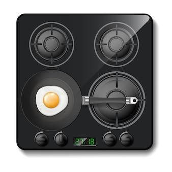 3d-realistische gasfornuis, zwarte kookplaat, kookplaat met vier cirkelbranders
