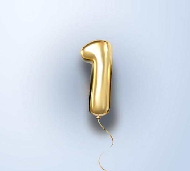 3d-realistische geïsoleerd met nummer één, 1, gouden heliumballon voor uw ontwerpdecoratie, feest, verjaardag, advertenties