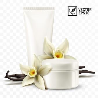 3d-realistische geïsoleerde pot en buis met cosmetische crème, vanillebloemen en stokken