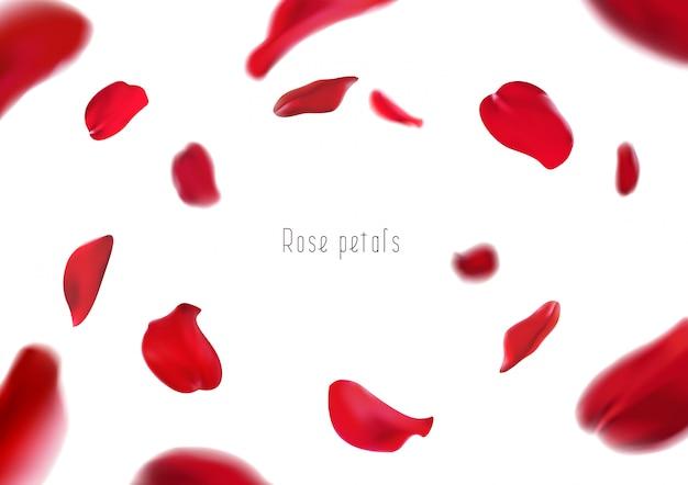 3d-realistische geïsoleerde rode rozenblaadjes cirkelen in een wervelwind
